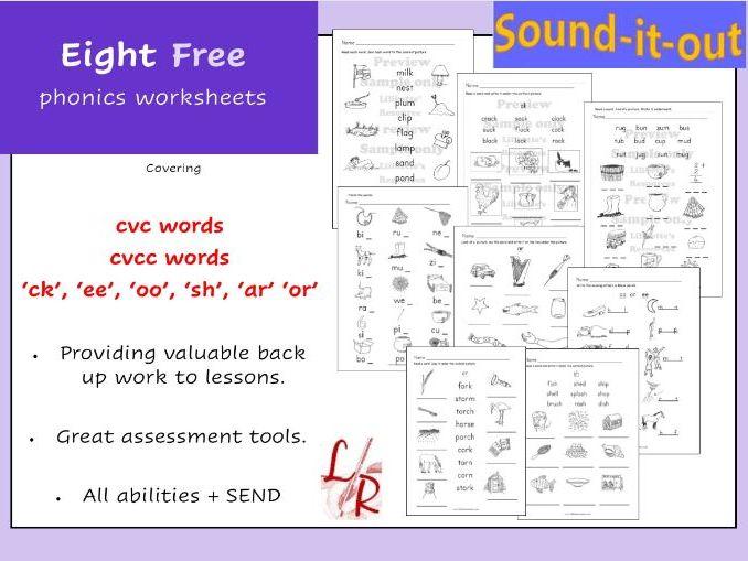 8  Phonics Worksheets FREE
