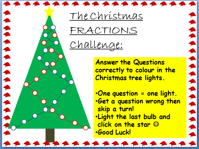 Fractions Christmas Challenge