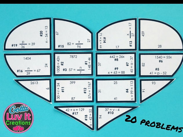 Solving Equations Valentine's Day Math One Step Equations No Negs Puzzle Valentine's Day Activity