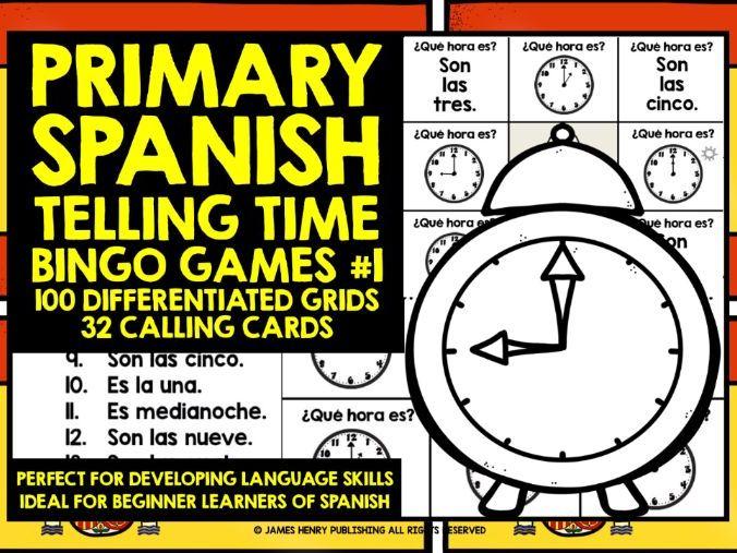 PRIMARY SPANISH TELLING TIME BINGO