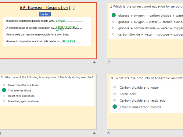 AQA Combined Science Trilogy- Unit B9- Respiration- Revision
