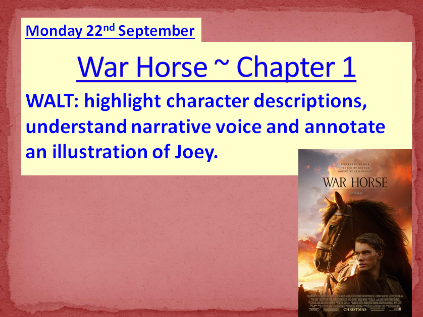 WAR HORSE by Michale Morpurgo ~ Ready-to-use lessons for Chapters 1 - 11 **NEW & UPDATED**