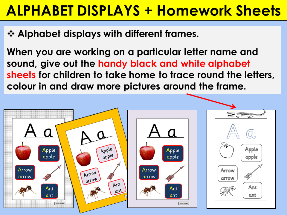Alphabet Displays, Teaching Aids and Alphabet Homework Sheets