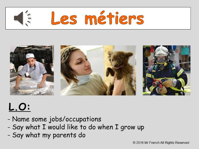 Les métiers (Jobs/occupations in French) 3 lessons! Y6  5th Grade
