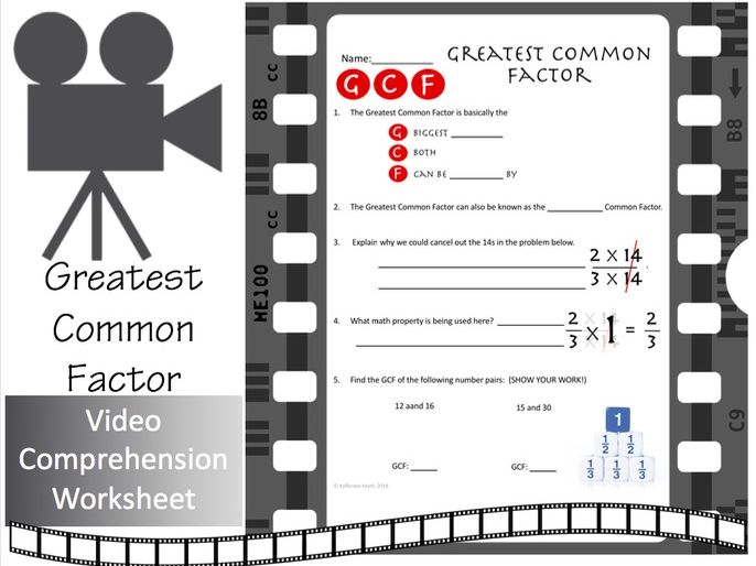 Greatest Common Factor --Video Comprehension Activity