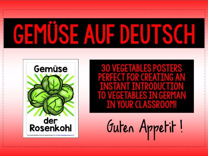 GERMAN VEGETABLES - 30 DISPLAY POSTERS / FLASHCARDS