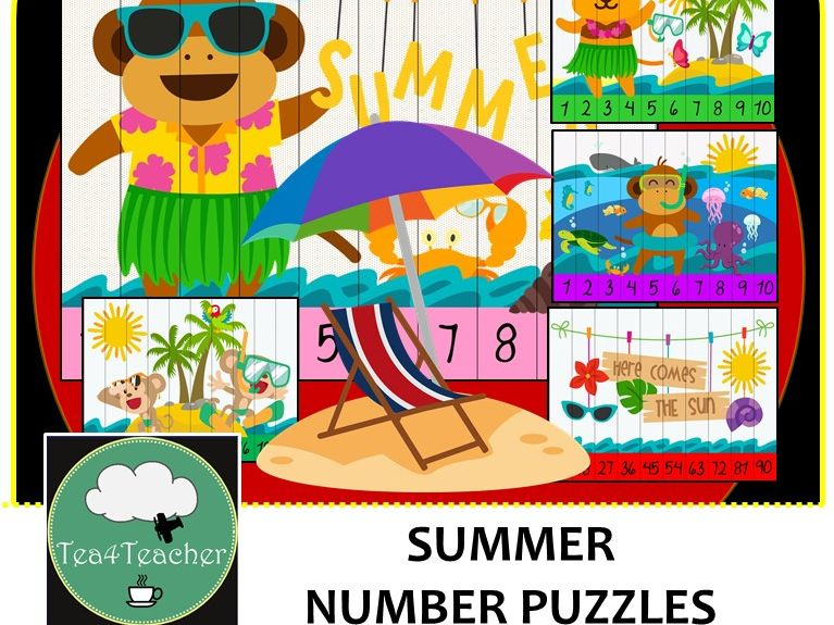 Summer Number Puzzles - 20 Summer Number Puzzles 1-10 + Times Tables