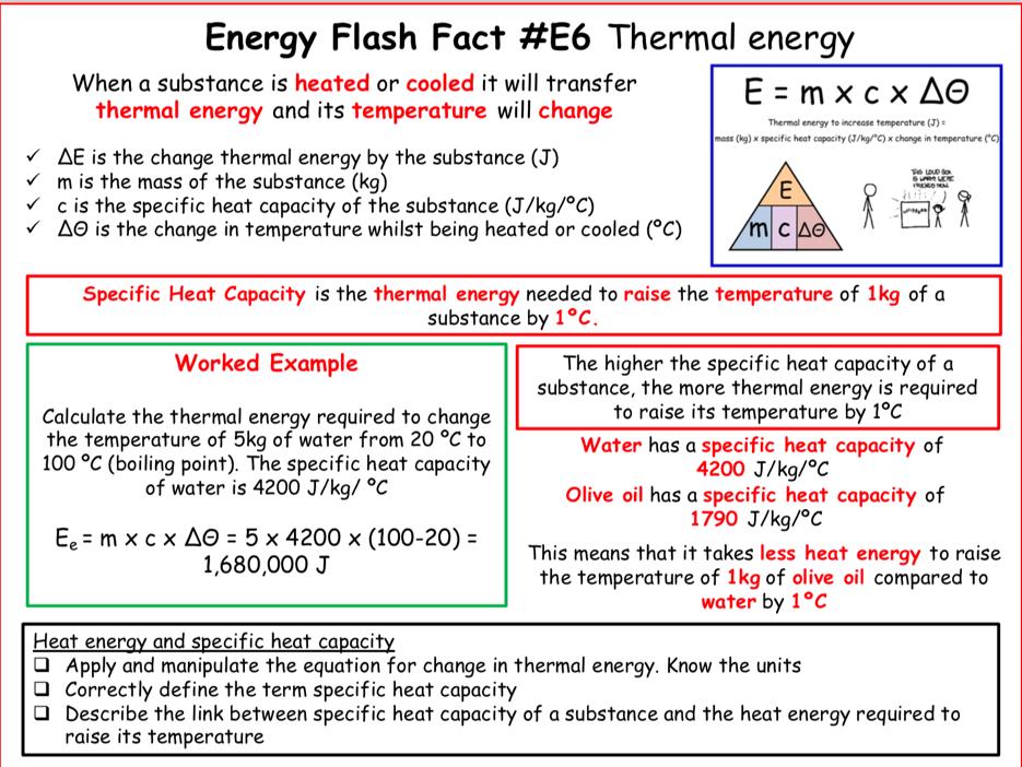 AQA Physics - Energy unit revision flash cards