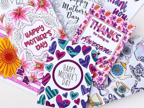 image relating to Printable Mothers Day Cards to Color Pdf titled Moms Working day Printable Coloring Playing cards (8 Pack) Printable PDF Moms Working day card templates in the direction of coloration