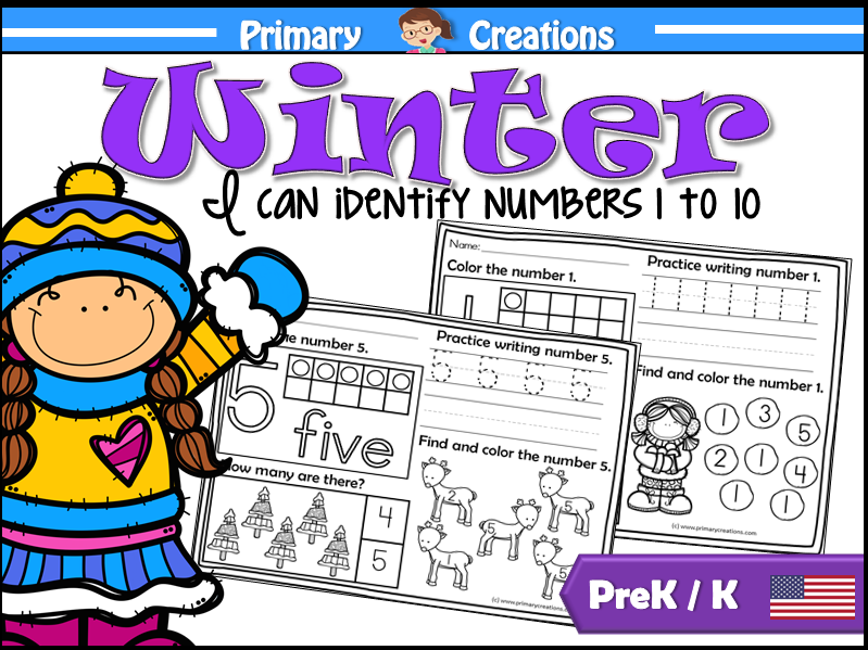 PreK Winter Maths Activities 1 to 10 (USA)
