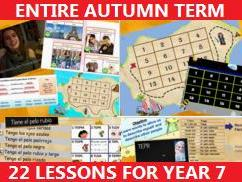 Spanish Year 7 or 8 Autumn Term - 22 lessons,games,videos,song - Two topics (Me/Family & School)