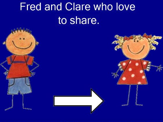 IWB resource to demonstrate sharing and division. EYFS/KS1