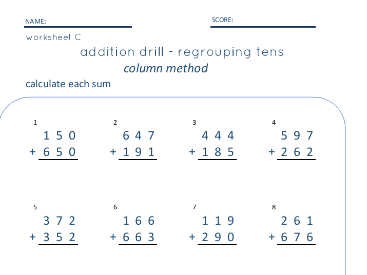 Three Digit Addition with and without regrouping - SET of 3
