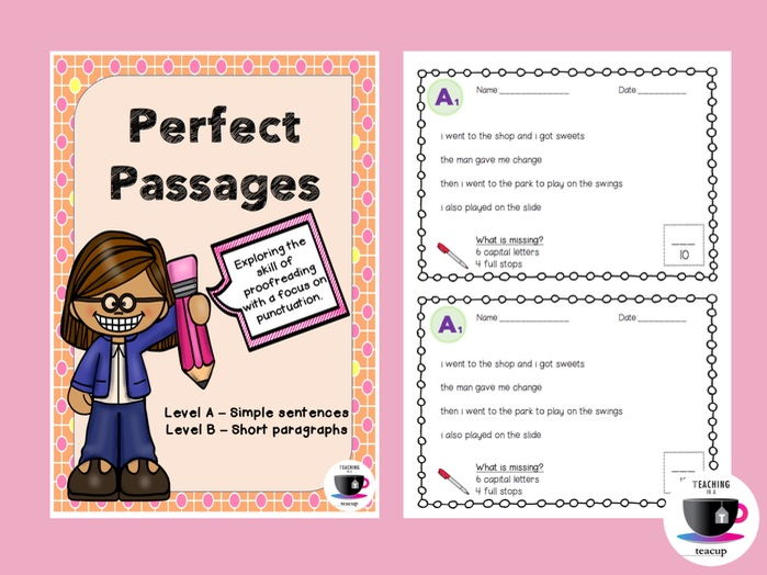 Proofreading Passages Full Stops and Capital Letters -  UK Spelling