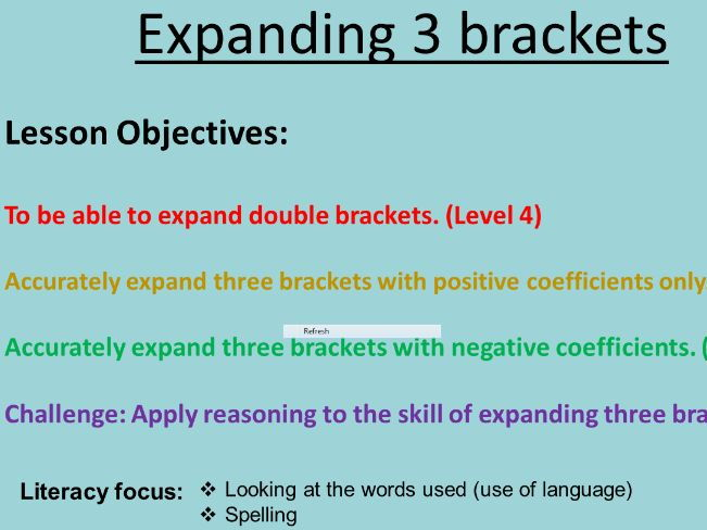 New GCSE Expanding Three Brackets (Differentiated)