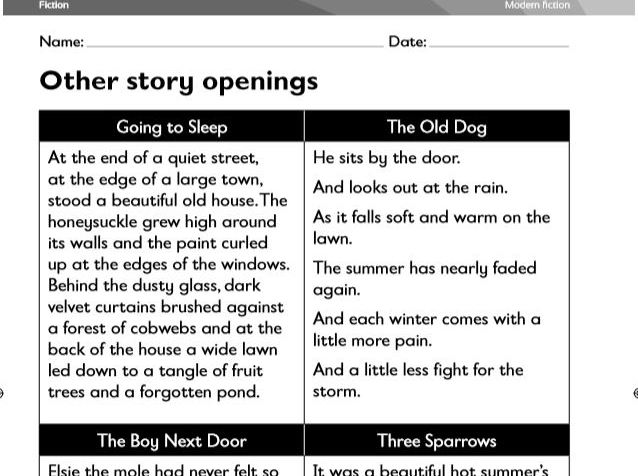 Year 5/6 Guided Reading- Modern Fiction 7 lesson Unit (Compare and Contrast styles of texts)