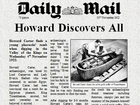 Howard Carter Newspaper Comprehension