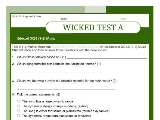 MUSIC EDEXCEL GCSE (9-1) TESTS ON WICKED