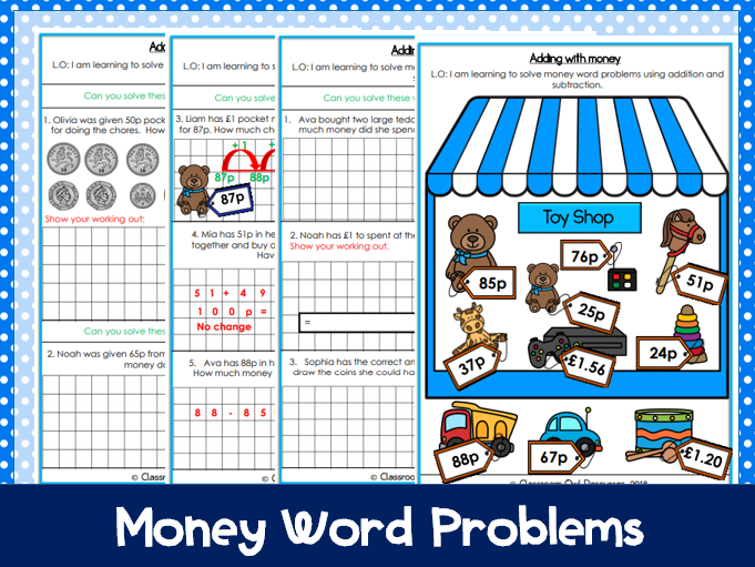 Year 2: Money Word Problems (differentiated worksheets)