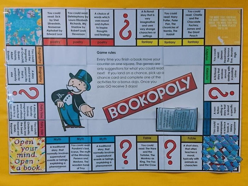 Bookopoly reading display