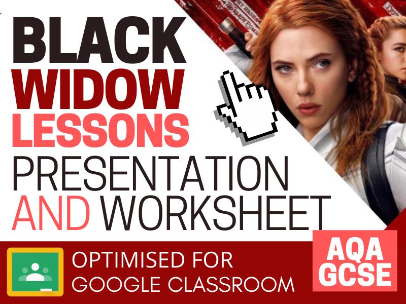 Black Widow CSP Digital Lessons - Presentation and Worksheet - AQA GCSE Media Studies