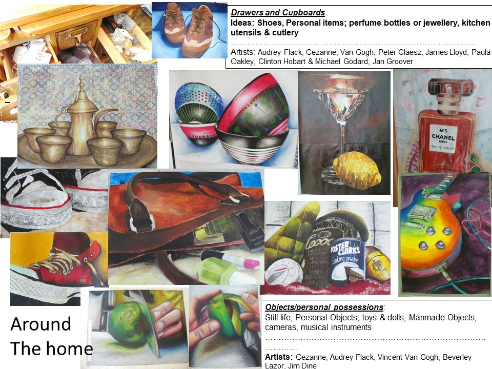"""Around the home"" GCSE art project suitable for home learning"