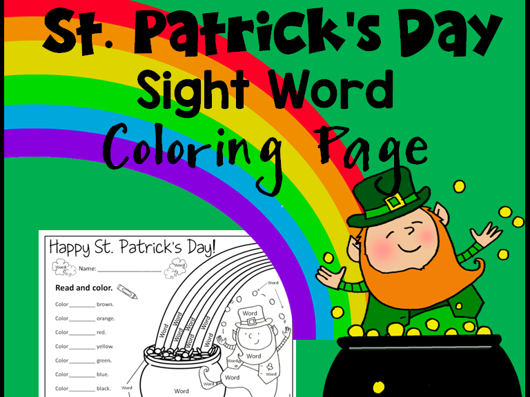 St. Patrick\'s Day Sight Word Coloring Sheet Activity *Editable*