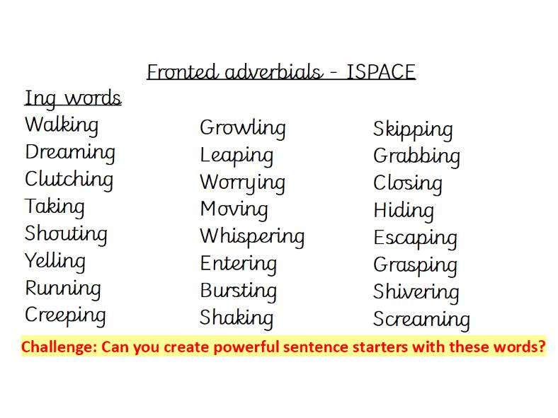Handwriting - Fronted adverbials