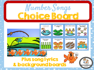 Number Songs Choice Board - Number Song Lyrics & Picture Boards