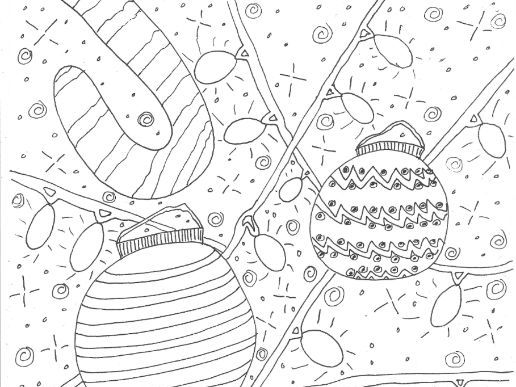 Christmas: Candy Canes and Baubles:  Colouring Page