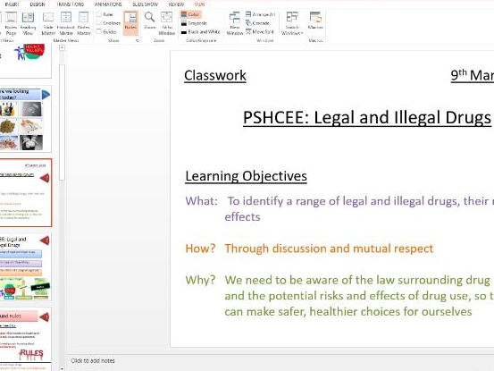 PSHE: Drugs Education: Legal and Illegal Drugs