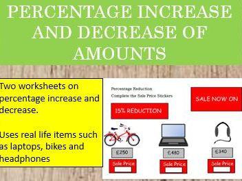 Percentage Increase and Decrease of Amounts