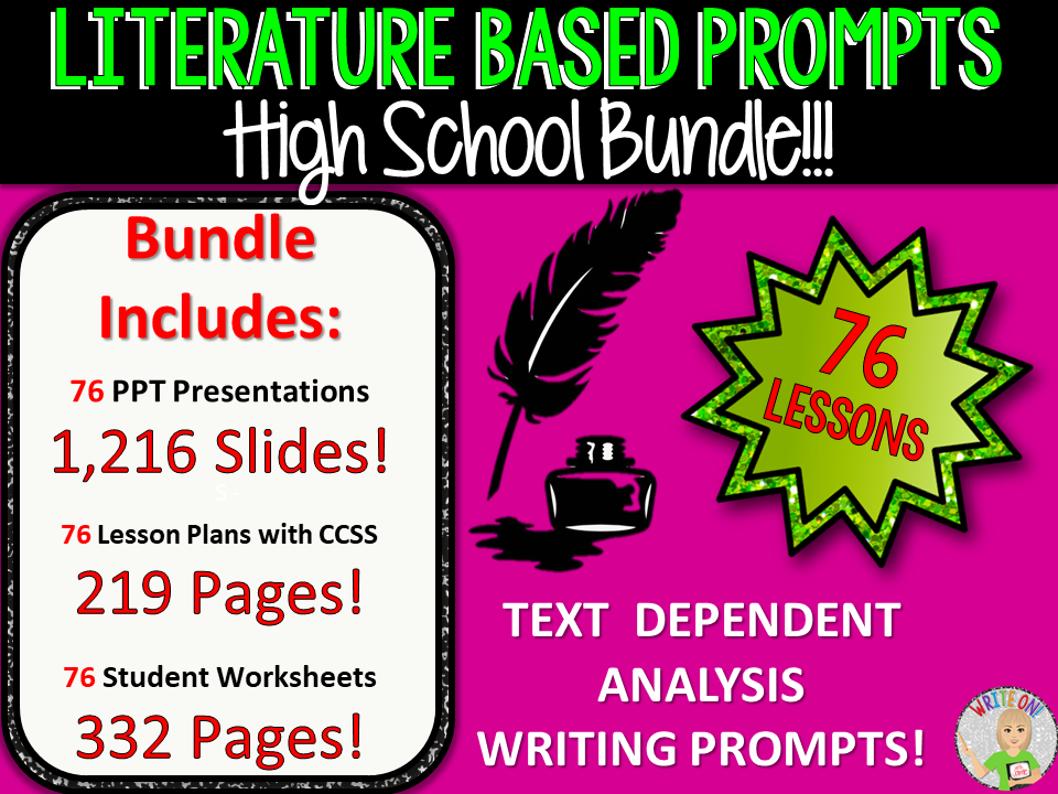 TEXT DEPENDENT ANALYSIS - TEXT EVIDENCE - LITERATURE PROMPTS BUNDLE! 76 Lessons!