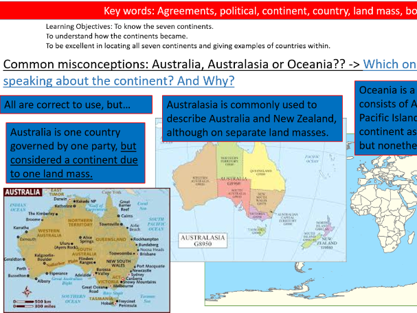 Geography Lesson- Countries and Continents