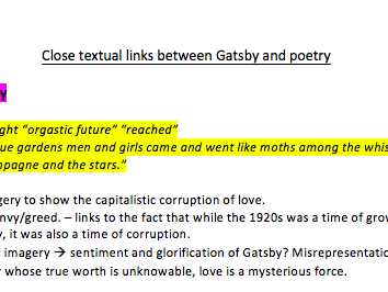 Comparing the Great Gatsby and Pre-1900s Poetry