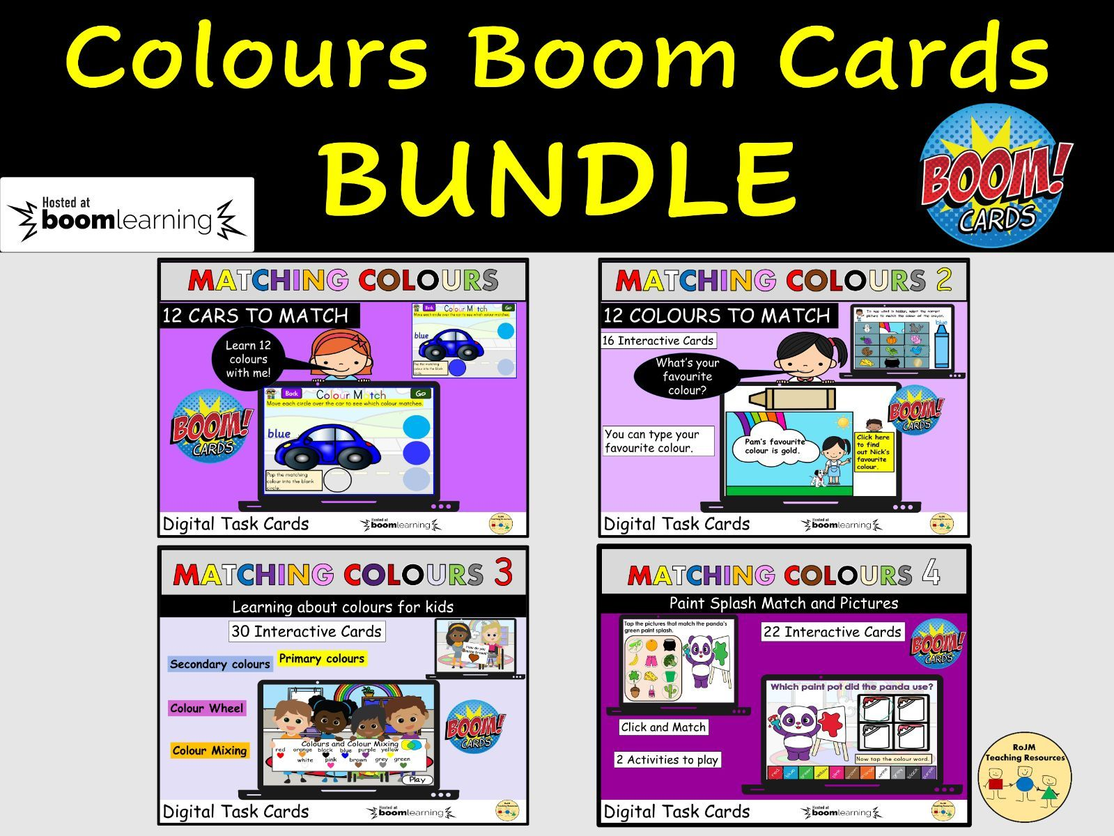 Colours Bundle Matching Colours Colour Words Colour Wheel BOOM Cards Distance Learning