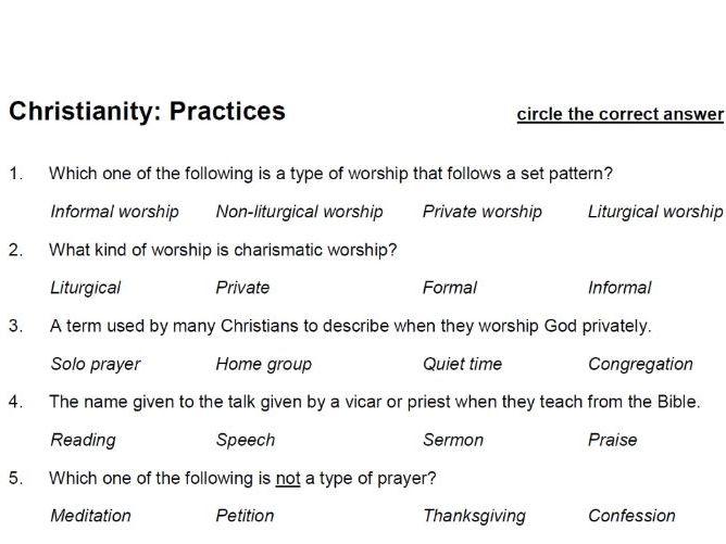 Christianity: Practices (Paper 1: AQA A GCSE Religious Studies) - multiple choice test