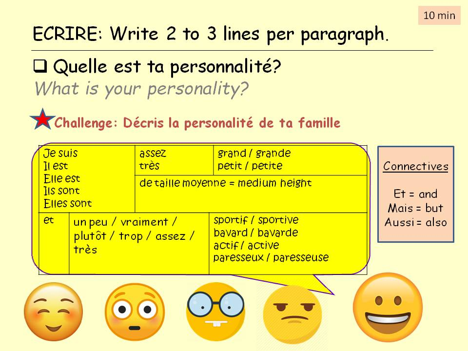 Personality and intensifiers y7 French