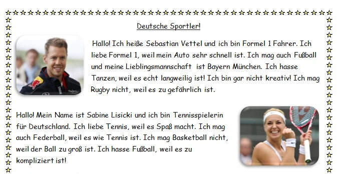 Reading based on German sport stars and their hobbies.
