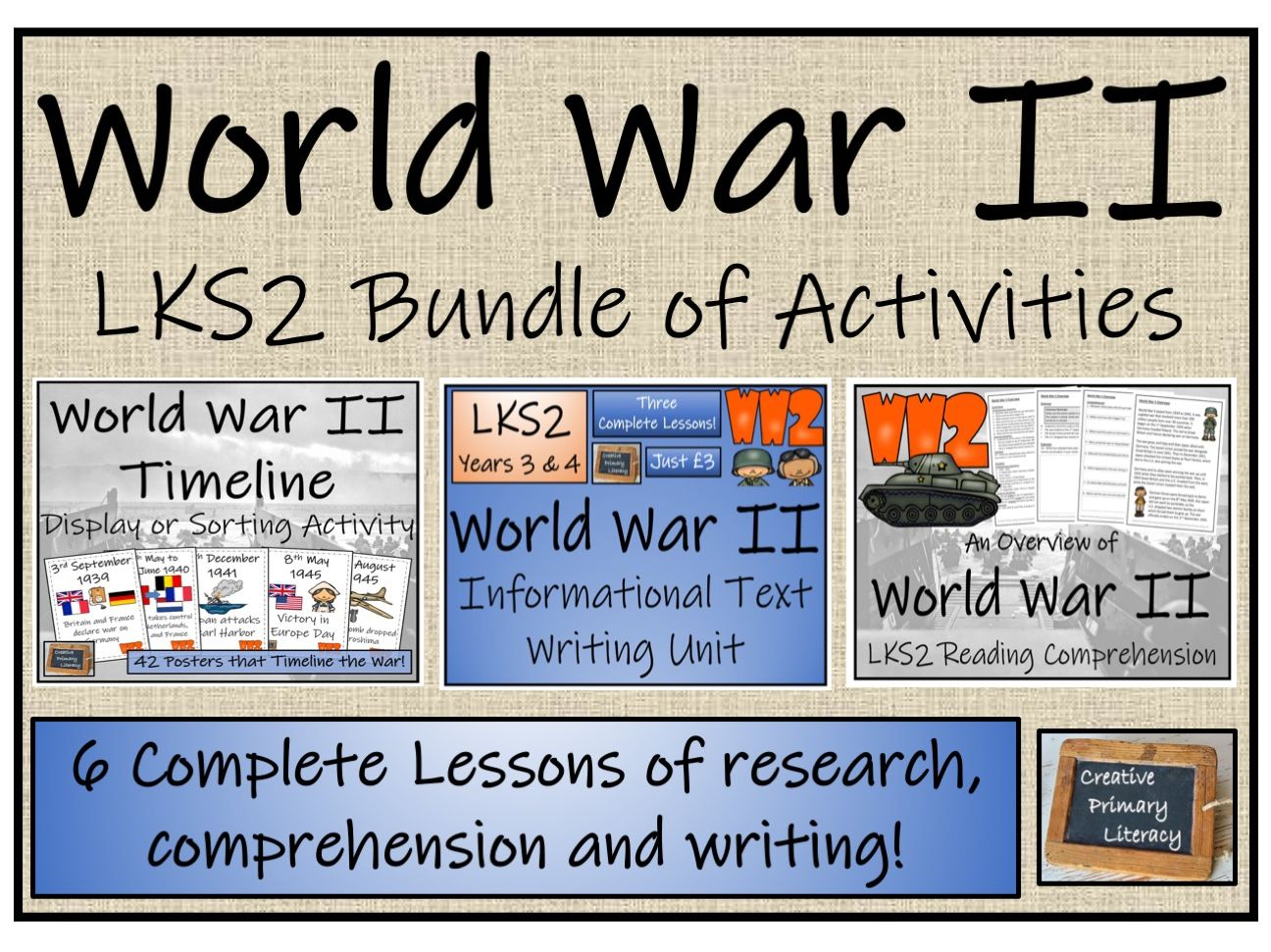 LKS2 World War II - Display, Sorting, Reading Comprehension & Writing Bundle
