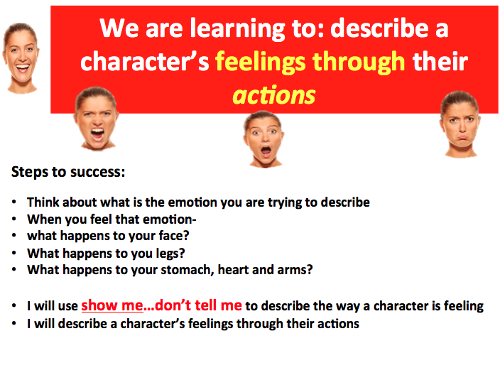 Describe a character's feelings through actions - Whole lesson PowerPoint with worksheets