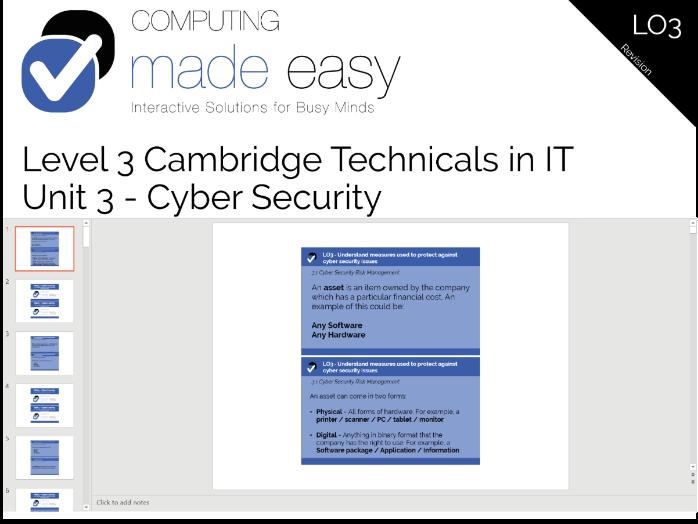Cambridge Technicals IT Level 3 - Unit 3 LO3 Revision Cards
