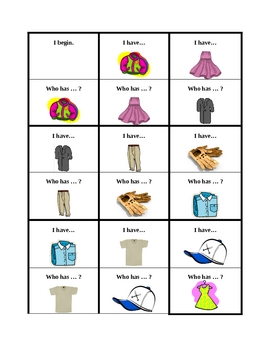 Clothing in English I have Who has