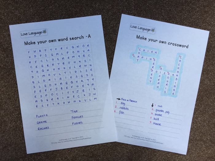 Make your own word search and crossword - any topic