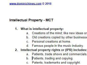 Intellectual Property Quiz - 10 Question MCT - Business Studies Assessment Resource