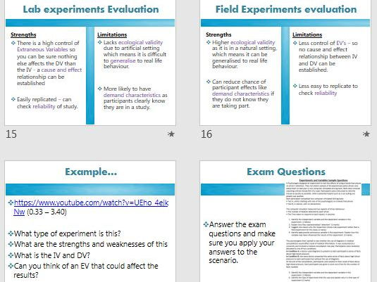 TYPES OF EXPERIMENTS - AQA Psychology research methods FULL LESSON (ppt, exam questions, activities)