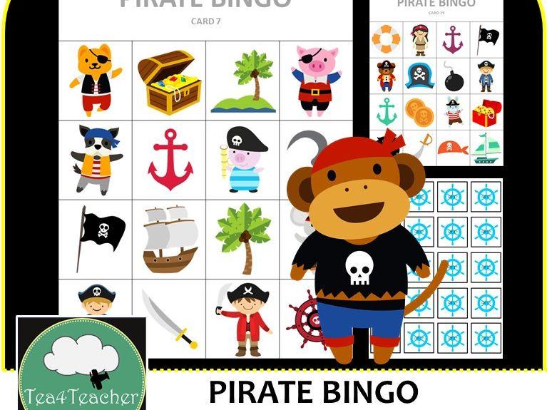 Pirate Bingo - Cute Pirate Themed Bingo Game for Preschool & K-2 kids