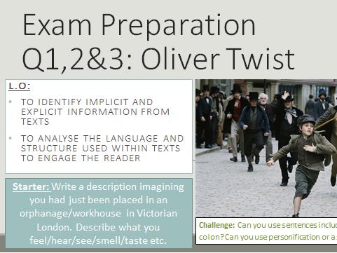 AQA Language Paper 1: Q1,2&3 Oliver Twist