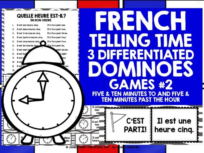 FRENCH TELLING TIME DOMINOES 2
