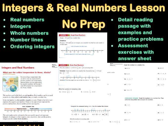 Integers and Real Numbers Lesson No Prep With Answer Sheet (Distance Learning)